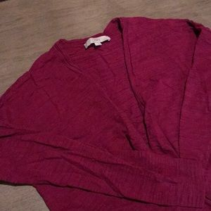 Loft cranberry colored cardigan